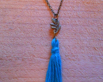 long bronze chain, blue tassel necklace