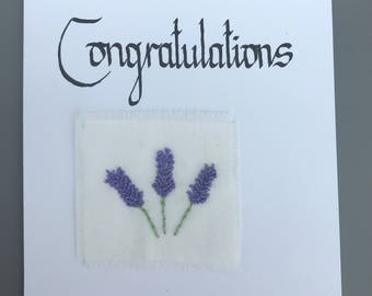 Congratulations - Embroidered Lavender Card
