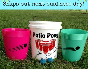 Patio Pong, Giant Pong, Family Game Night, Pink & Sea Foam Color set