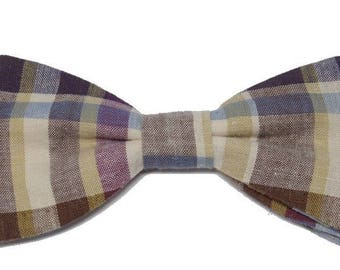 Bow tie, plaid beige, blue, plum to straight edges