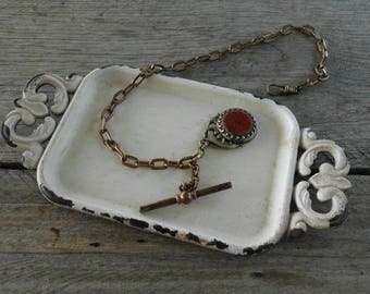 Antique Goldstone Watch Fob & Chain