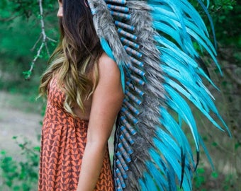 25% OFF SALE The Original - Real Feather All Light Blue Chief Indian Headdress Replica 135cm, Native American Style Costume Hand Made War Bo