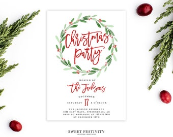 Christmas Party Invitation, Christmas Invitation, Holly Invitation, Holiday Invitation, Printable, Christmas Watercolor Invitation, Wreath