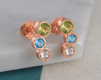 Peridot Earrings, August Birthstone, Rose Gold Studs, Birthday Gifts, August Birthdays, Birthday Gift, Rose Gold Earrings, Rose Gold Jewelry
