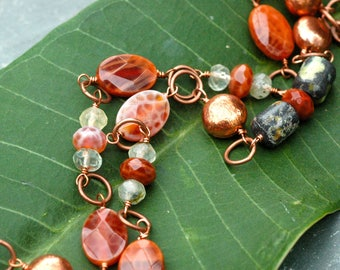 Long Orange Necklace; Rustic Necklace; Fire Agate; Copper Gemstone Necklace; Wire Wrapped; Energizing Inspiring Passion