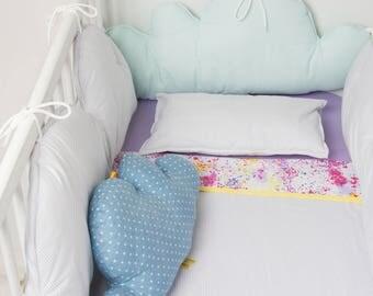 Clouds crib bumper. Baby cushions. Crib accesories.