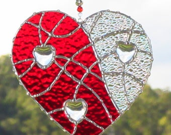 Stained Glass Red Heart, Hearts within a heart, Romantic Gift, Gift for her, Leadlight Heart,Australian Leadlight, Hand made, Ready to ship