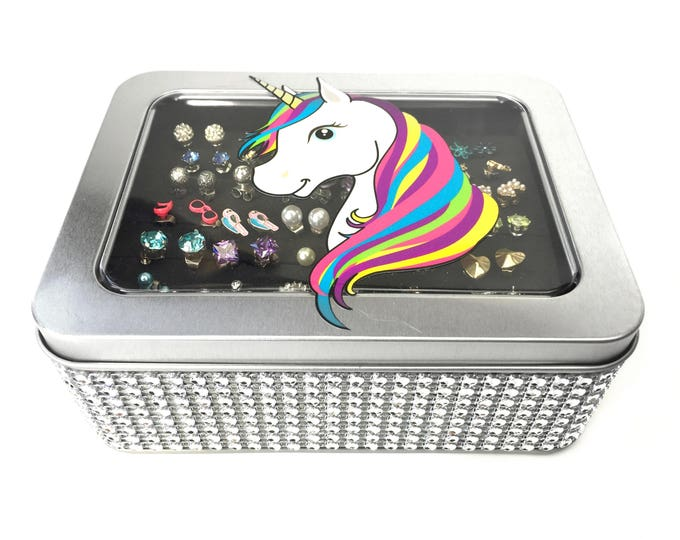 Unicorn Tin Jewelry Box - Silver Jeweled Ribbon - Earring Holder
