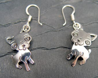 Chihuahua Dog Earrings Sterling Silver