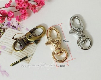 10pcs 3.3x0.8cm/ 1.29x0.31 inches Silvery Light golden Brushed brass metal Bag Purse snap hooks clasp lobster buckle