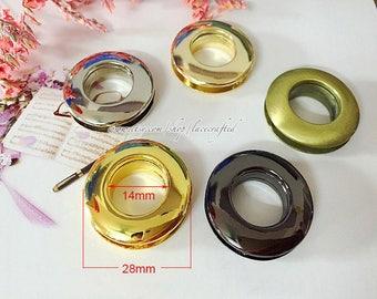 "10 pieces 1.4cm/0.55"" Light golden Gunmetal Silvery Brushed brass Golden Alloying Removable Eyelet Screw Grommet Eyelet For Bag Making"