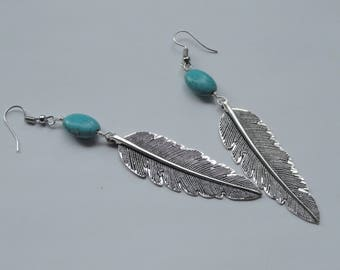 Silver feather and turquoise earrings, Boho earrings, Feather earrings, Silver bohemian earrings, Boho turquoise earrings, Boho jewellery