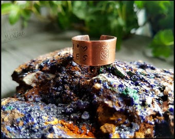 """Stamped copper ring, """"J'aime les Ananas"""" (I Love Pineapple), """"J'aime les Cacus"""" ( I love Cactus), adjustable, handmade, gift idea"""