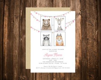 Forest Friends Woodland Critter Baby Shower Invitation; Animals; Girl; Pink; Printable or set of 10