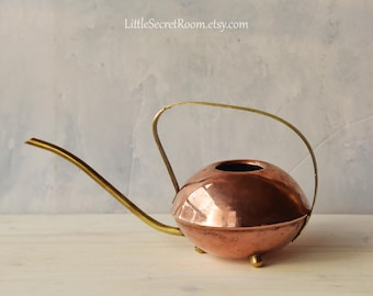 Vintage copper brass Watering Can, Scandinavian design, Home decor