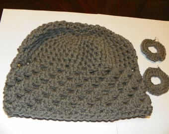 Grey Hand crochet hat beanie skullie chemo cap with matching crochet earrings