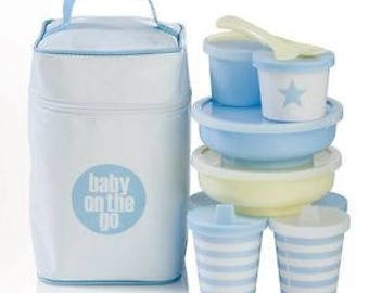 Baby On The Go - Meal and Snack Set - Blue- Personalized