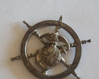 Vintage Sterling silver pre-1955 Eagle, Globe and Anchor over a ships wheel, unknown application or maker, unique design