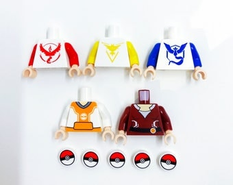 Pokemon Go Torso Pack - miniBIGS Custom LEGO Figure Part made from Genuine LEGO Minifigure Elements