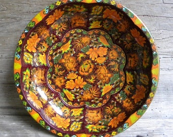 Daher Decorated Ware Vintage Floral Metal Tray / Made in England / Brown Orange Green Decorative Tray / Daher Tray