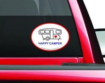 Happy Camper Decal - Pop-up Camper Decal - Camping Trailer Bumper Sticker - Pop Up Camper Decal - Pop Up Trailer - Camper Sticker
