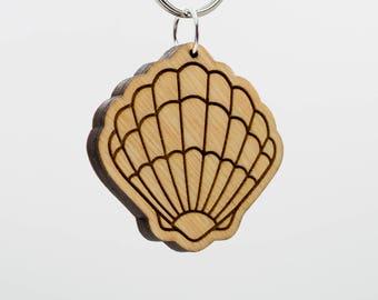 Seashell Keychain - Clam Shell Keychain - Sea Shell Keychain - Sea Shell Keyring - Seashell Charm - Sea Shell Wooden Engraved Keychain