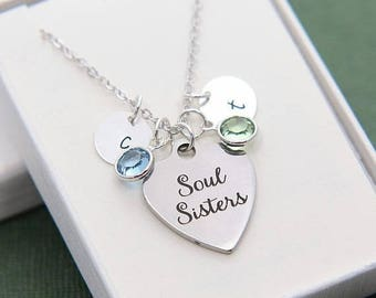 SALE Soul Sisters Necklace, Sisters Necklace, Sisters Jewelry, Soul Sisters gift, Best Friend Gift, Gift for Sister, Birthstone Necklace for