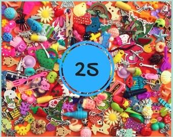 Mix of 25 I spy trinkets, miniatures, scrapbooking