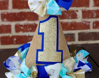 Gold Glitter and Blue Fabric and Burlap Cake Smash, Photo Prop, Birthday Party Hat - Gold Glitter, Aqua, Blue First Birthday Hat