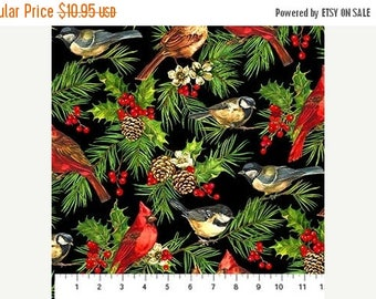 Summer Sale- Home for the Holidays~Birds on Black~Christmas Cotton Fabric by~Northcott~Fast Shipping HC290
