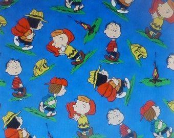 Summer Sale- Camp Peanuts~Royal Peanuts Toss~Cotton Fabric,Quilt, Craft, Home Decor by Quilting Treasures, Fast Shipping CH183