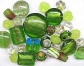 RESERVED FOR REBECCA - 30 Pc Mixed Green Beads | Bright Green | Murano Style Glass | Lampwork Style Glass | Glass Beads
