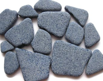 Stone Tile Surf Tumbled Beach Find Small to Large 14 Pcs Blue Unglazed Crafts Mosaics Art Garden Collecting