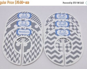 SALE Custom Baby Closet Dividers Gray Blue Baby Shower Gift Closet Organizer Finished Product CD128