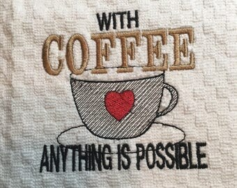 Coffee Kitchen Towel Embroidered