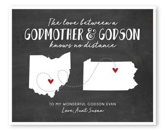 Godmother Gift, Godson Gift, Gift For Godson, Gift For Godmother, Long Distance Gift, Long Distance Quote Print, Moving Away Gift