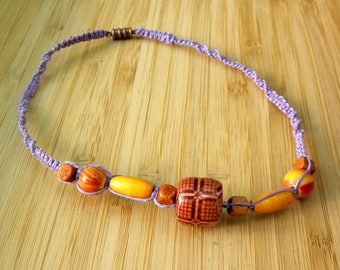 Girls' macrame necklace with lilac hemp, wood beads: Can be purchased as a mother/daughter/doll set