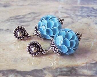 Blue Chrysanthemum. Handmade Lampwork Earrings 3,2 cm. Lotus Lampwork Earrings. Sterling Silver Earrings. Blue Flower Lampwork Earrings.