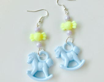 Pastel Rocking Horses Dangly Earrings