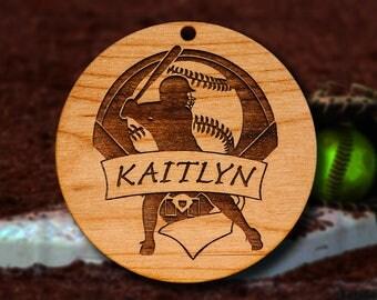 Wooden Softball Ornament
