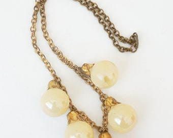 1940s Brass and Plastic Charm Bubble Necklace