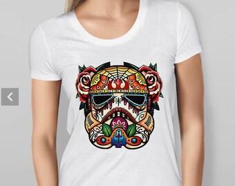 Womens Stormtrooper Sugar Skull - White T-shirt