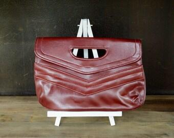 Vintage Envelope Clutch, Cranberry Clutch Bag, Small Hand Bag, Maroon Vegan Faux Leather Vinyl Handbag, Burgundy Purse, Minimalist Clutch