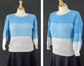 80s Sweater, 80s Blue Knit Sweater, Quarter Length Sleeve Sweater, Women's Size Medium, Acrylic Layering Sweater, Blue Ombre Sweater NWT