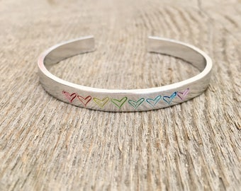 Pride Bracelet, Rainbow Bracelet, Heart Bracelet, Rainbow Pride Bracelet, Pride Jewelry, Gift under 20, Mothers Day  gift, Mothers Day