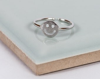 Sterling Silver Happy Midi Ring