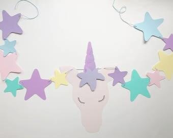Unicorn Banner | stars, glitter, unicorn baby shower, unicorn birthday theme, princess, rainbow, party, girly, lashes, magical, colorful