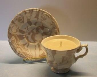 2 in 1 Gift Caramel Popcorn St Helens Ashware Vintage Teacup and Saucer Soy Candle