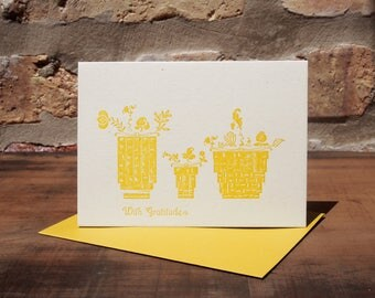 With Gratitude - Letterpress printed greeting card