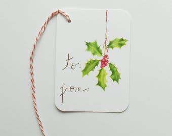 Christmas Gift Tags // Holly Gift Tags // Holiday Gift Tags